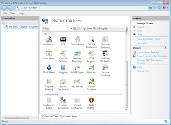 screenshot of IIS7 with platform installer