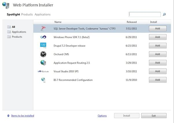 Screenshot of platform installer