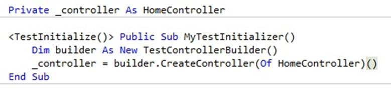 code sample creating controller