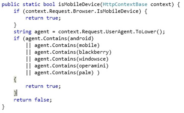 Sample code from method detecting mobile devices