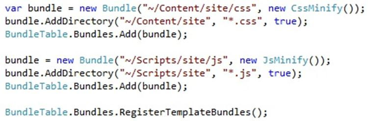 code in the global asax adding bundles