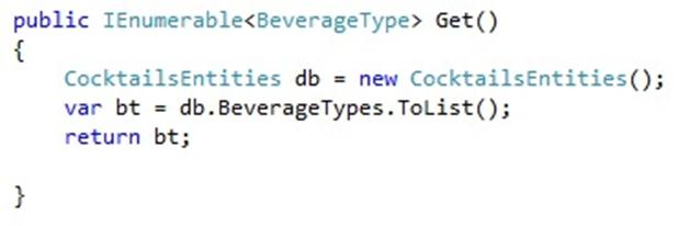code to return IEnumerable of BeverageType