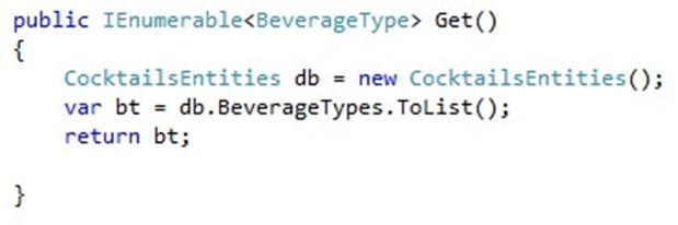 code to return IEnumerable of BeverageType