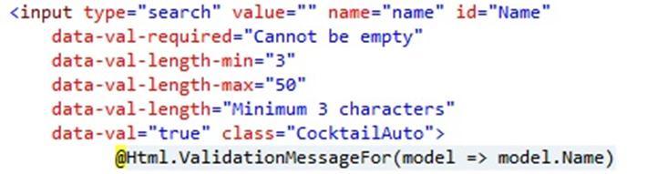 HTML and MVC code sample