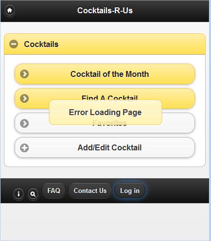 screen grab of error