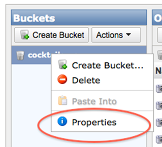 bucket properties link
