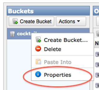 bucket properties link
