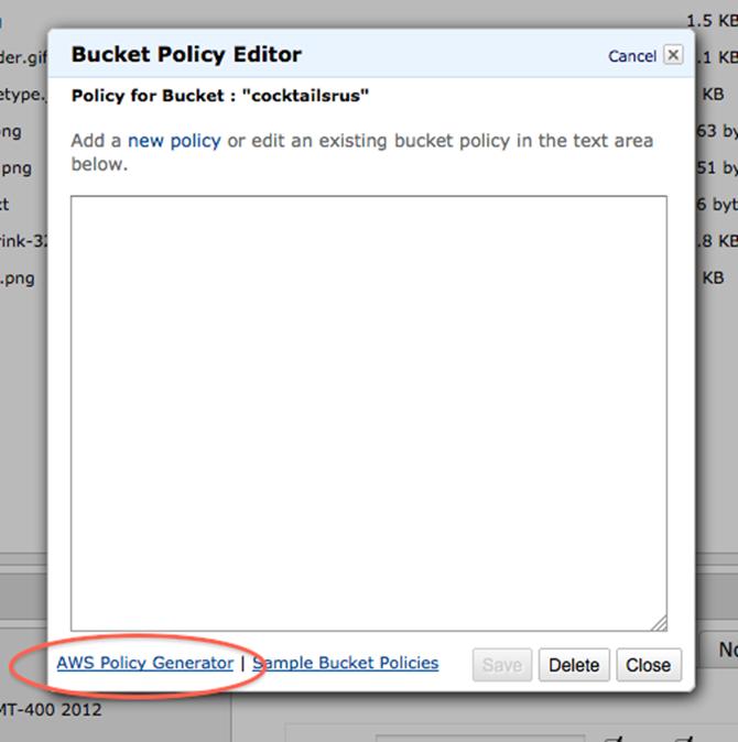 bucket policy editor