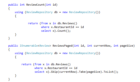 business layer code returning paged data and count